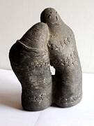 Indian Sculpture Framed Prints - Romantic Couple Framed Print by Manish Verma