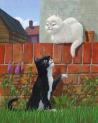Red In Black Prints - Romantic Cute Cats In Garden Print by Martin Davey