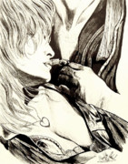 Drawing Of Lovers Art - Romantic Encounter by Cheryl Poland