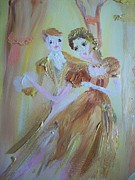 Ballet Dancers Painting Posters - Romantic encounter Poster by Judith Desrosiers