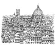 Florence Drawings Framed Prints - Romantic Florence skyline in ink Framed Print by Building  Art