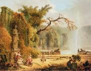 Fountain Scene Prints - Romantic garden scene Print by Hubert Robert