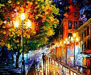 City Street Paintings - Romantic Night by Leonid Afremov