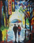 Rainy Street Painting Originals - Romantic Night Out by Leslie Allen