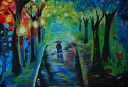 Couple Hugging Paintings - Romantic Stroll by Leslie Allen
