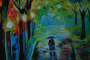 Lighted Pathway Prints - Romantic Stroll Series 1 Print by Leslie Allen