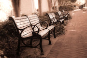 Park Benches Photo Acrylic Prints - Romantic Surreal Park Bench Pink Sepia Tones Acrylic Print by Kathy Fornal
