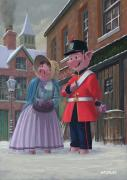 Cartoon Animals Posters - Romantic Victorian Pigs In Snowy Street Poster by Martin Davey
