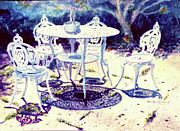 Puerto Rico Painting Metal Prints - Romantic White Garden Metal Print by Estela Robles