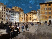 Crowd Scene Art - Rome - Piazza della Rotunda by Jen White
