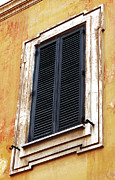 Neighborhood Prints - Rome Blue Shutter Print by John Rizzuto