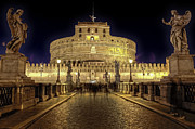 Night Lights Framed Prints - Rome castel sant angelo Framed Print by Joana Kruse