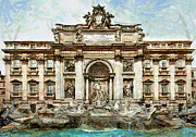 Italia Digital Art - Rome Fountain Trevi by Amarok A