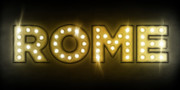 Text Posters - Rome in Lights Poster by Michael Tompsett