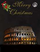 Michelangelo Mixed Media Posters - Rome Merry Christmas Poster by Eric Kempson