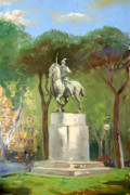 Rome Painting Prints - Rome Piazza Albania Print by Ylli Haruni