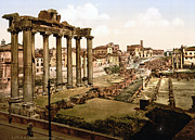 Roman Ruins Posters - Rome, Ruins Of The Temple Of Saturn Poster by Everett