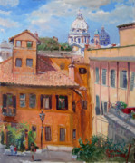 Rome Cityscape Paintings - Rome seen from Piazza Di Spagna by Ylli Haruni