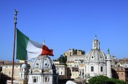 Italian Culture Prints - Rome Skyline With Italian Flag Print by Fafali.org