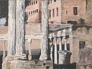 Roman Columns Painting Prints - Rome Yesterday and Today Print by Mg Gerlach