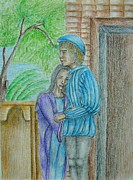 Romeo And Juliet Drawings - Romeo and Juliet scene by Thuraya R