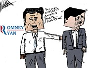 Parody Drawings - Romney Ryan Caricature by Yasha Harari