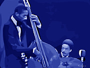Drummers Digital Art Metal Prints - Ron Carter and Tony Williams Metal Print by Walter Neal