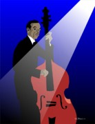 Musicans Posters - Ron Carter On Bass Poster by Walter Neal