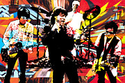 The Rolling Stones Mixed Media - Ron Mick Charlie Keith by Kevin Newton
