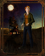 Hills Digital Art Posters - Ron Weasley 8x10 Print Poster by Christopher Ables