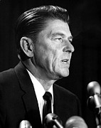 Ronald Reagan At A Press Conference Print by Everett