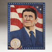 Folk Art Reliefs Prints - Ronald Reagan Centennial Celebration Print by James Neill