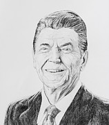 Ronald Reagan Drawings Prints - Ronald Reagan Print by Daniel Young