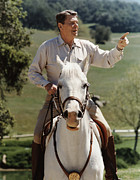 United States Presidents Prints - Ronald Reagan On Horseback  Print by War Is Hell Store
