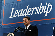 Historical Speech Posters - Ronald Reagan. President Reagan Giving Poster by Everett
