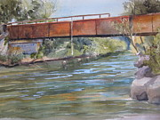 Wolverine Paintings - Rondo Landing Sturgeon River by Sandra Strohschein