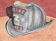 Chicago Paintings - Rondos Fire Helmet by Ken Powers