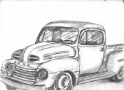 Ford Truck Drawings - Ronnie Faulks Old Truck by Kevin Callahan