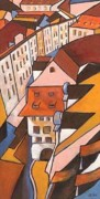 Prague Painting Framed Prints - Roofs 2 Framed Print by Miki Sion