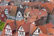 Old Houses Photo Metal Prints - Roofs of Bad Sooden-Allendorf Metal Print by Heiko Koehrer-Wagner