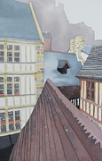 Streetscape Paintings - Roofs of St Malo by Linda Franklin