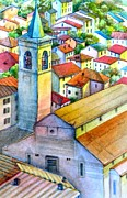 Graphics Paintings - roofs of the city of Fiumalbo  by Khromykh Natalia