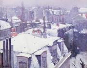 Snow Scene Oil Paintings - Roofs under Snow by Gustave Caillebotte