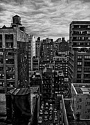 Cities Digital Art Metal Prints - Rooftop BW16 Metal Print by Scott Kelley