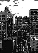 Rooftop Digital Art Framed Prints - Rooftop BW3 Framed Print by Scott Kelley