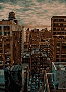 Cities Digital Art Metal Prints - Rooftop Color 16 Metal Print by Scott Kelley