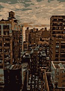 Cities Digital Art Metal Prints - Rooftop Color 6 Metal Print by Scott Kelley