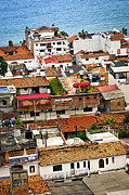 Above Prints - Rooftops in Puerto Vallarta Mexico Print by Elena Elisseeva
