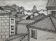 Skylines Drawings Originals - Rooftops by Lester Glass