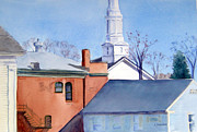 East Hampton Painting Framed Prints - Rooftops of East Hampton Framed Print by Katherine  Berlin